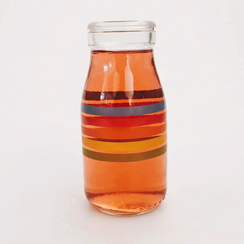 200ml Food Grade Glass Bottle with PE Plastic Lids for Storing Beverage Juice,Coffee,Tea,Milk