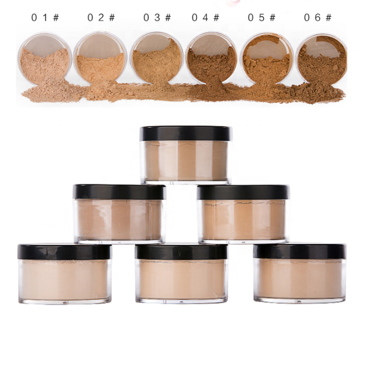 Long Lasting Oil Control 6 Colors Loose Setting Powder Makeup Private Label Face Foundation Powder