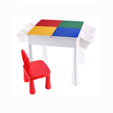 Plastic multifunctional building block desk educational learning table for kids
