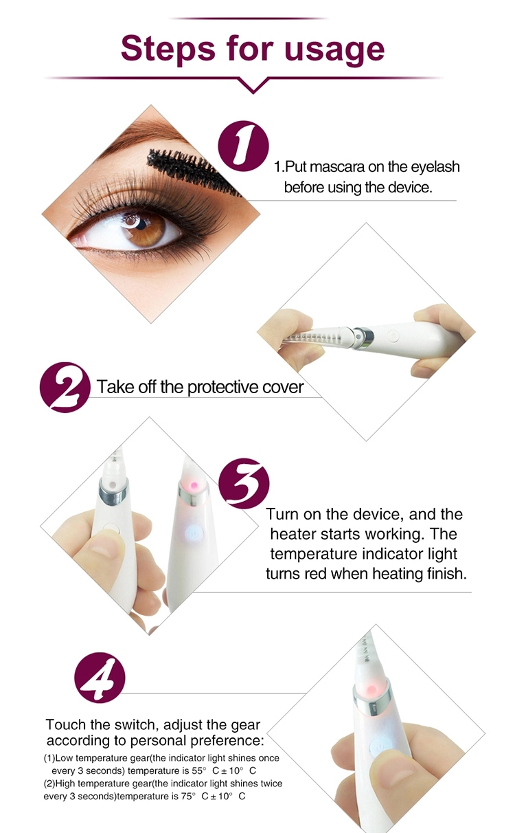 Mini USB Rechargeable Lash Curler Quick Heating Long Lasting Eye Lashes Curling Comb for Girls