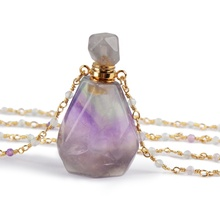 HD00916 Natural Gemstone Bottle Colorful Fluorite Crystal Perfume Bottle Essential Oil Perfume Pendant <strong>Necklaces</strong>