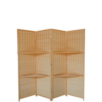 Simple weaving partition folding 4 panels room divider screen