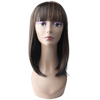 "Color 1b/30 18"" straight ombre wig synthetic with hair bangs"