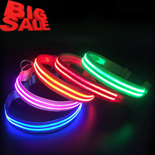 Wholesale Custom Dog Collars Pet Supplies, Adjustable LED Flashing Dog Collar, Nylon Pet Collar