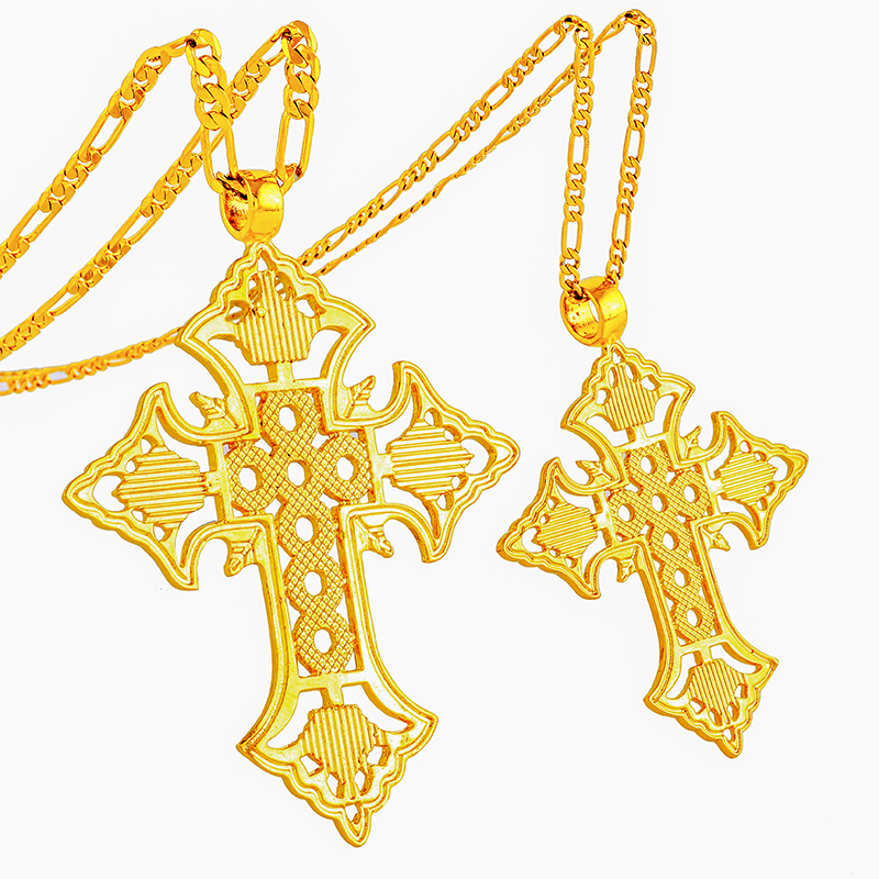 Ethly Two Size Gold Cross Necklace for Women/Men Gold Plated Ethiopian Cross Charm Pendant Eeligion Jewelry Gift <strong>P100</strong>