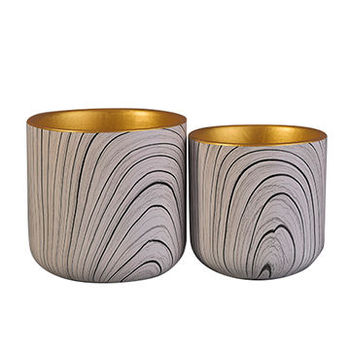 Water transfer printing Ceramic Candle Vessel With Gold Plating