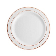 7.5&quot; Plastic Disposable <strong>Plate</strong> with Rose Gold Rim