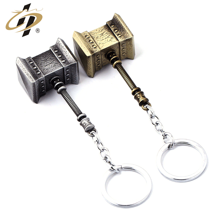 Wholesale zinc alloy custom 3d antique metal hammer keychain
