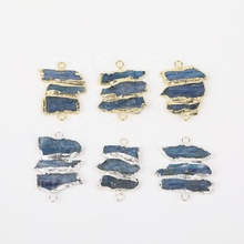 High Quality Quartz Pendant Connector <strong>Charms</strong>,Natural Blue Kyanite Bracelets Link Jewelry