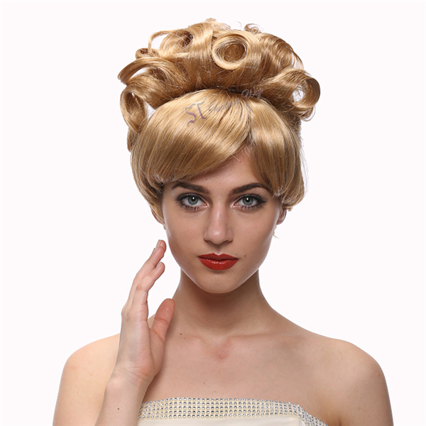 Princess Queen Wig Curly Golden Blonde Hair UpDo Cinderella Cosplay Wig