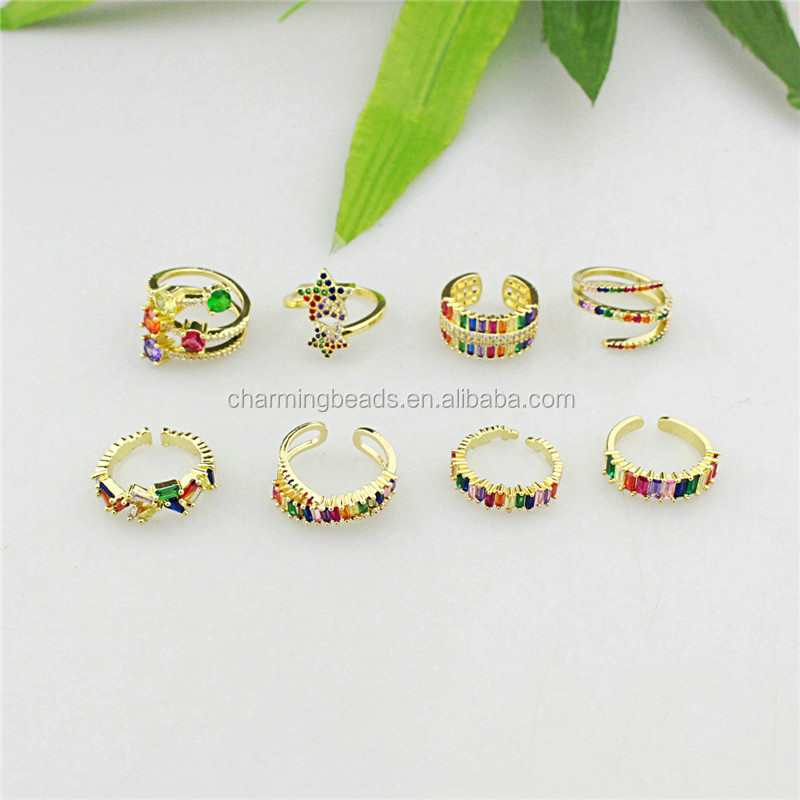 CH-CKR0028 Rainbow cubic zirconia micro pave ring,multicolor cz inlay plating adjustable ring,fashion jewelry wholesale
