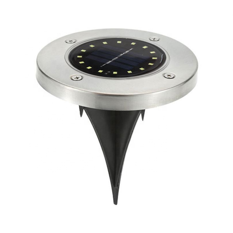 Hot Sale Smart Lawn Patio Led Stainless <strong>Steel</strong> Solar Powered Disk Ground Light, Green Powered Outdoor 8 led Solar Garden Light