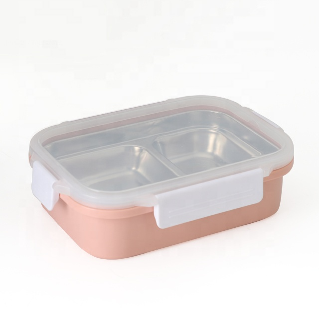 stainless steel tiffin box lunch bento box leakproof stainless steel insulated lunch box with <strong>plastic</strong> outside