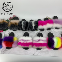 Custom logo indoor eva sole slide <strong>sandal</strong> colorful 100% fox fur slipper