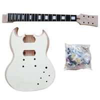 Diy Solid wood sg style headless electric guitar kit unfinished guitar set for sale