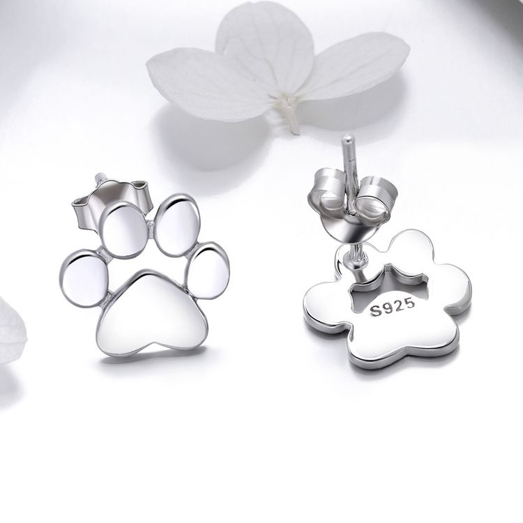 Fashion Women 925 Sterling Silver Jewelry Animal Dog Cute Pet Footprint With White Gold Plated Stud Earrings