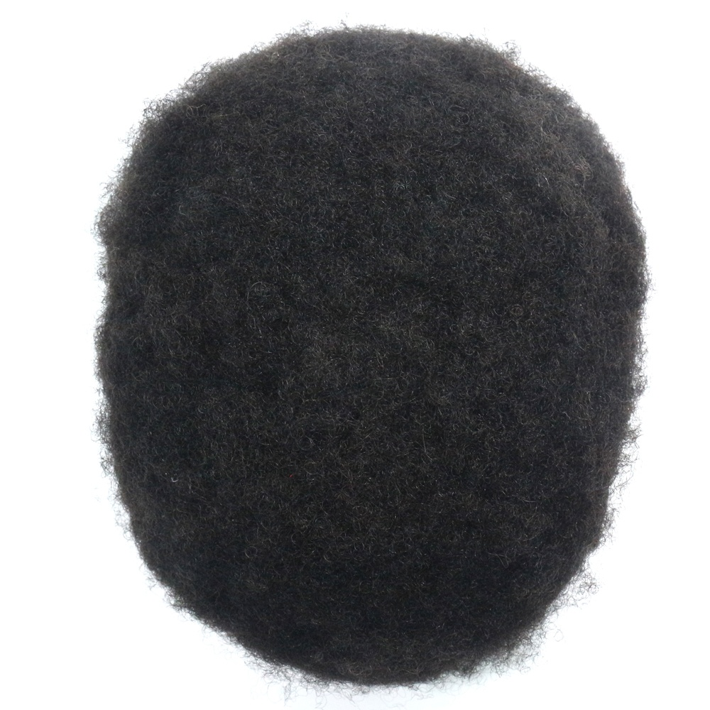French Lace Afro curly 100% Indian Human Hair Black Mens Toupee