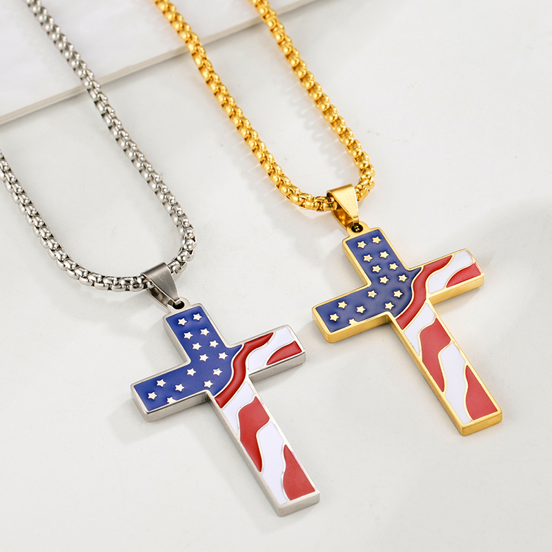GXC001 Personalized Custom Accessories Stainless Steel Cubic Zirconia  Cross Pendant Jewelry Necklace
