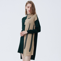 2019 New Women's Ladies Casual Basic Solid Female Pattern Round Neck Knit Long Sleeve Pullover Cashmere Sweater Dress