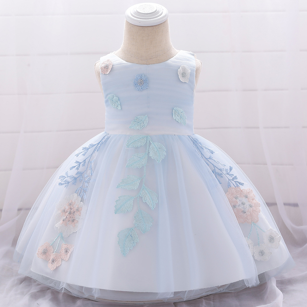 2019 Summer Latest Fashion Style Children Wedding Pageant Party Clothing O-neck Flower Applique Gauze dress ball gown