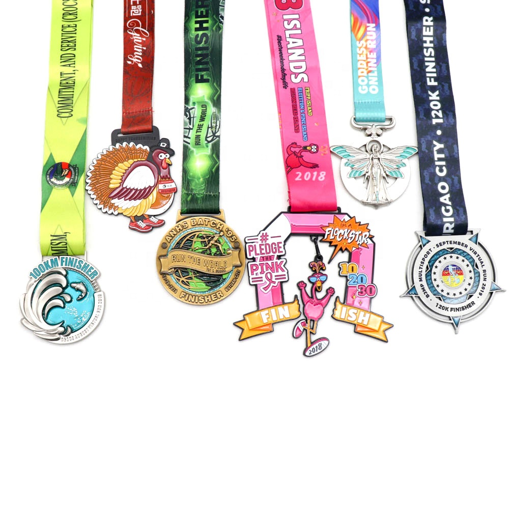 China cheap Custom <strong>metal</strong> design you own Marathon Running zinc alloy 3D gold <strong>metal</strong> award medal with sublimation ribbon