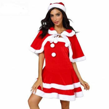 Women Xmas Holiday Red Dress Santa Xmas Family Matching Clothes 3PC Christmas Dress