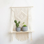 Macrame Wall Hanging Shelf, Wood Floating Hanging Storage Shelf Organizer Hanger, Handmade Cotton Rope Woven Home Wall Decor