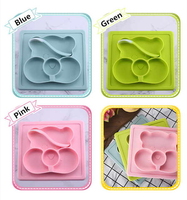 FDA approved baby food feeding All-in-one silicone dinner plate for kids/Kids Food Container/Silicone Splash plate