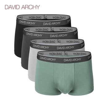 David Archy Ultra Soft Comfy Bamboo Rayon Trunks Underwear for Men No Fly 4 Pack