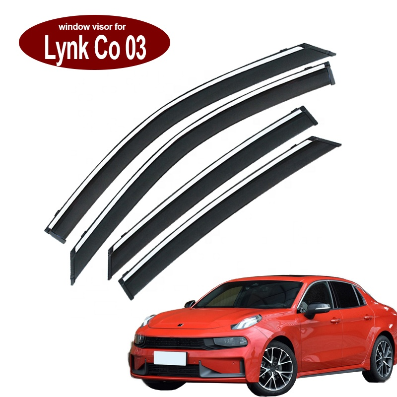 4Pcs Acrylic+3D Plastic Electroplating car Wind Deflector rain-shield rain guard for Geely Lynk co <strong>03</strong>