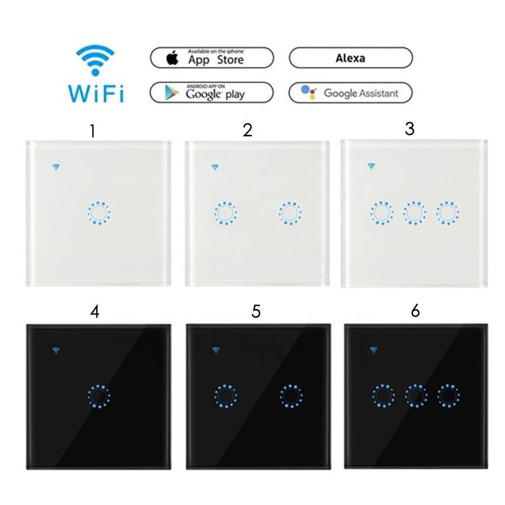 Fast delivery 1 Gang EU WiFi <strong>Switch</strong> Amazon Alexa and Google Home Touch Wall <strong>Switch</strong> LED Light Glass Panel Remote Smart <strong>Switch</strong> OEM