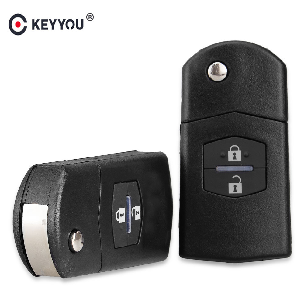KEYYOU 2 Button Remote <strong>Key</strong> Fob Shell Case Folding Flip With Uncut Blade For Mazda 3 5 6
