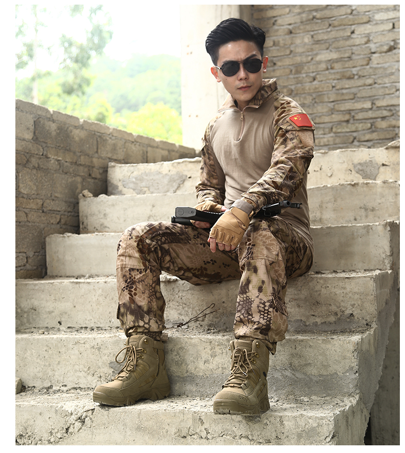 Custom workshop men used lace up tan desert combat brazil camouflage shoes men army military boots