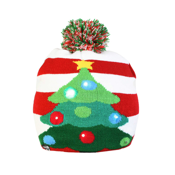 Christmas Decoration Hat Knit Winter Kids Hat with LED For Christmas Home Decoration