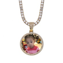 Custom Photo Memory Medallions Solid Jewelry Necklace Pendant Hip Hop Jewelry Dropshipping Cubic Zirconia Gold <strong>Chains</strong> Necklaces