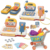 Children's supermarket cash register toy set with music and lights