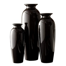 Wholesale black set of 3 custom european style pottery ceramic floral vase home decoration for living room