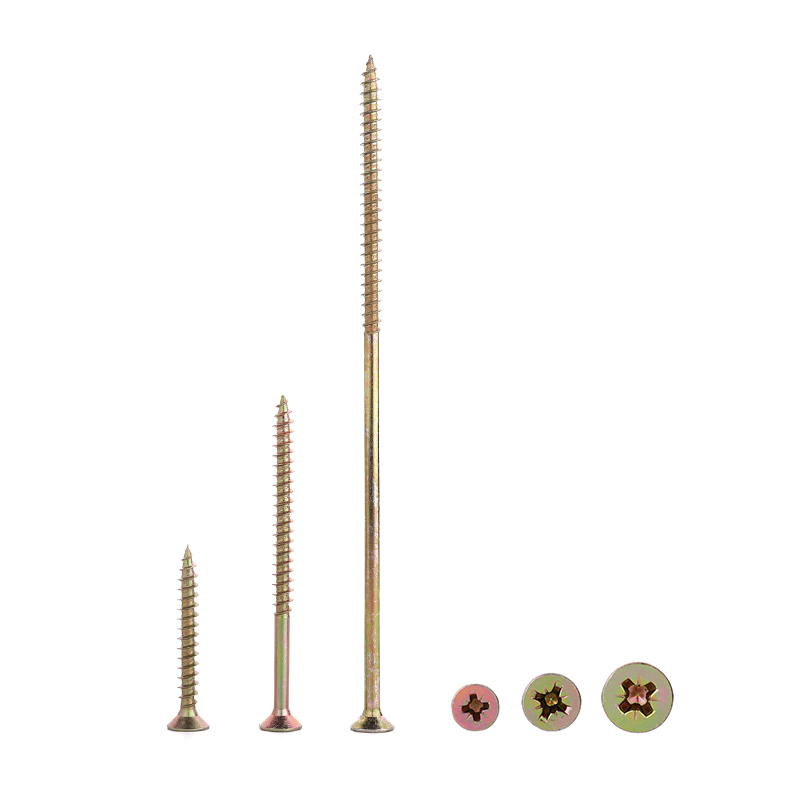 <strong>c1022</strong> flat head pozi drive yellow zinc plated countersunk head chipboard screw