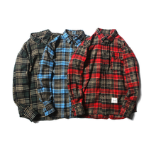 Customized Autumn <strong>Men's</strong> Fashion Retro Loose Plaid Cotton Long-sleeved Casual Joker <strong>Shirt</strong>