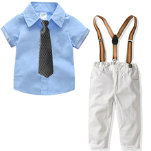 2020 summer woven boys tie short sleeve shirt white strap trousers <strong>children</strong> clothing <strong>set</strong>