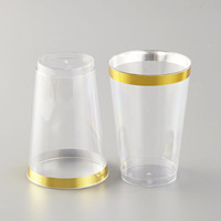 14 oz Gold rim plastic disposable cups ,glass tumblers with gold rim for dessert