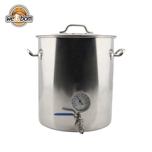 Homebrew 40L Mash Tun Stainless Steel Beer Kettle Brewing Pot with DIY Weldless Fittings kit