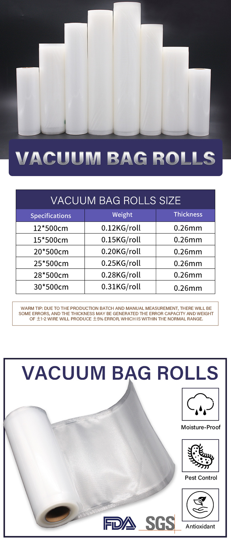 PA PE Plastic Reusable Textured Embossed  Roll Vacuum bags for food