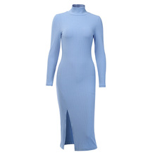 Sexy Knee-Length <strong>Party</strong> <strong>Dresses</strong> Cotton Ribbed Knitted Turtleneck Solid Split Long Sleeve Autumn Mock Neck Elegant <strong>Dress</strong>