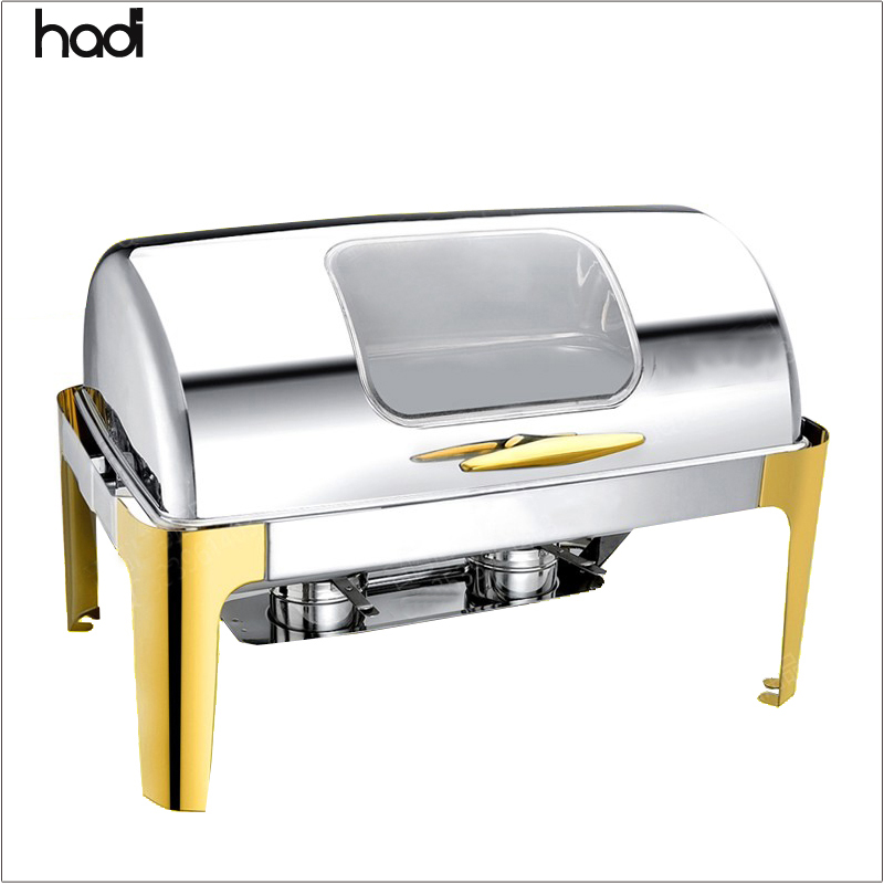 Commercial 9liters gold chafing dish stainless steel roll top electric chafing dish food warmer buffet pans