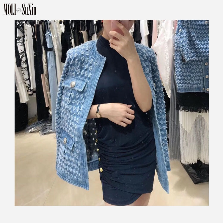 MOLI 2019 High Quality Crew Neck <strong>Hole</strong> Tie Wrap Boutique Denim Coat