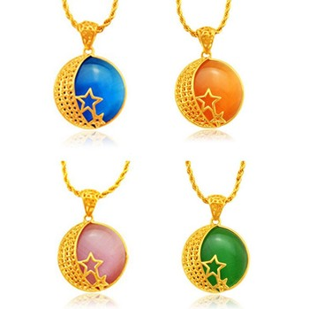 XSP05 Huilin Jewelry Trade Assurance 24K Gold Plated Star Moon Opal Pendant Wholesale