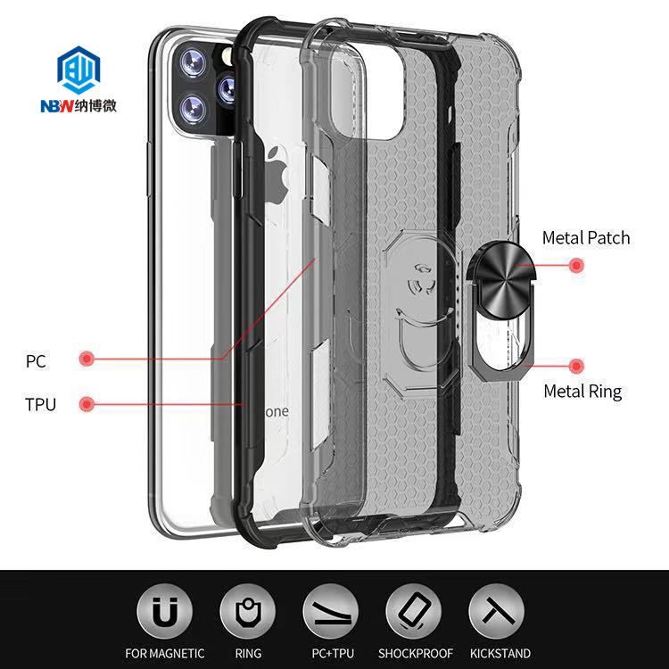 2019 New Product For iPhone 11 Pro Max Shockproof Car Mount Magnetic Ring Holder Phone Case