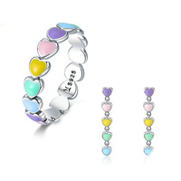 Birthday Gift 925 Sterling Silver Womens Enamel Rainbow Stacking Heart Earrings Ring Jewelry Set