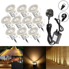 Dankers 10pcs-12pcs/Pack LED Deck Lights Kit 12V Low Voltage Waterproof Wood Recessed for Outdoor Garden Yard Patio Stair Path L